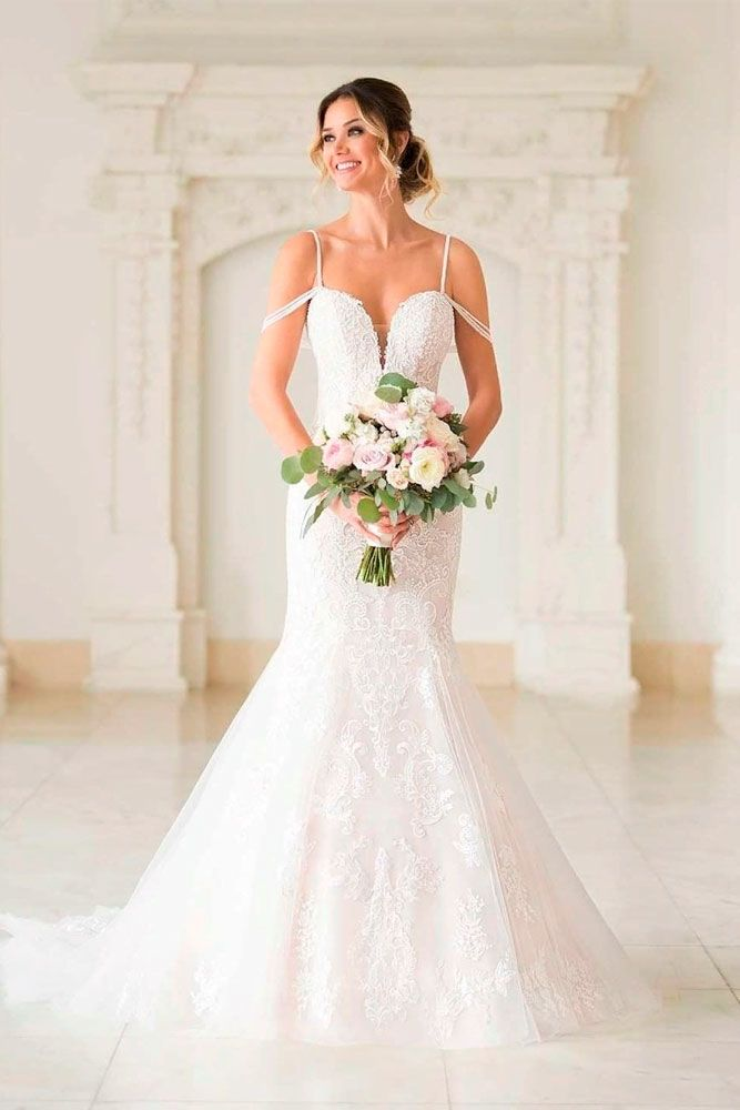 Fit-And-Flare Gown With Falling Strap Sleeves #strapsleeves #longweddingdress
