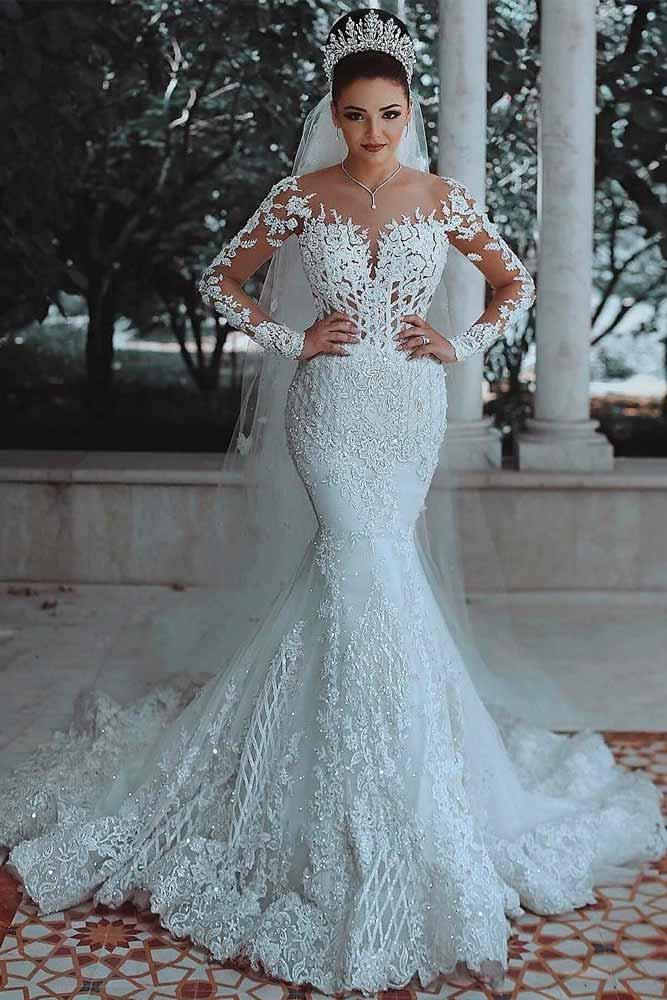 Wedding Dress With Long Lace Sleeves #chicweddingdress #laceweddingdress