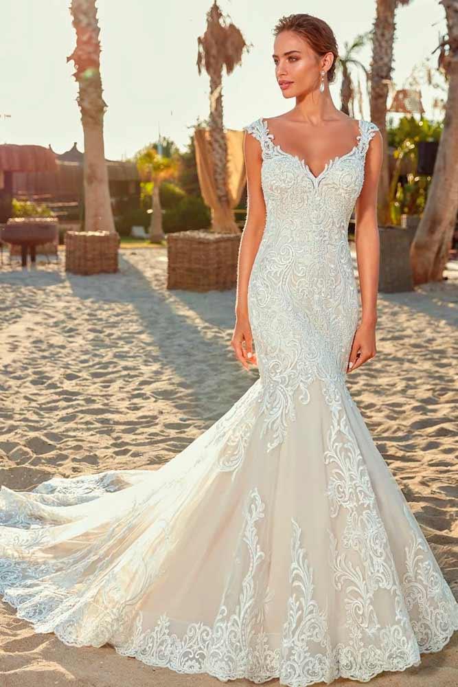 Mermaid Wedding Dress Without Sleeves #sleevelessweddingdress #laceweddingdress