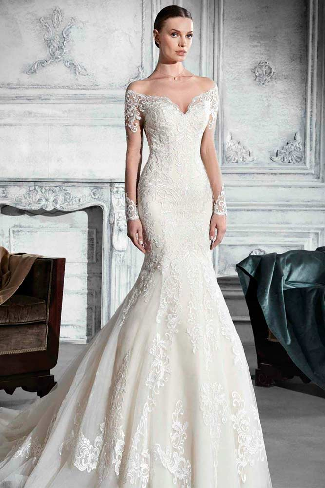 Shoulder Off Wedding Dress With Long Sleeves #weddingdress #longweddingdress
