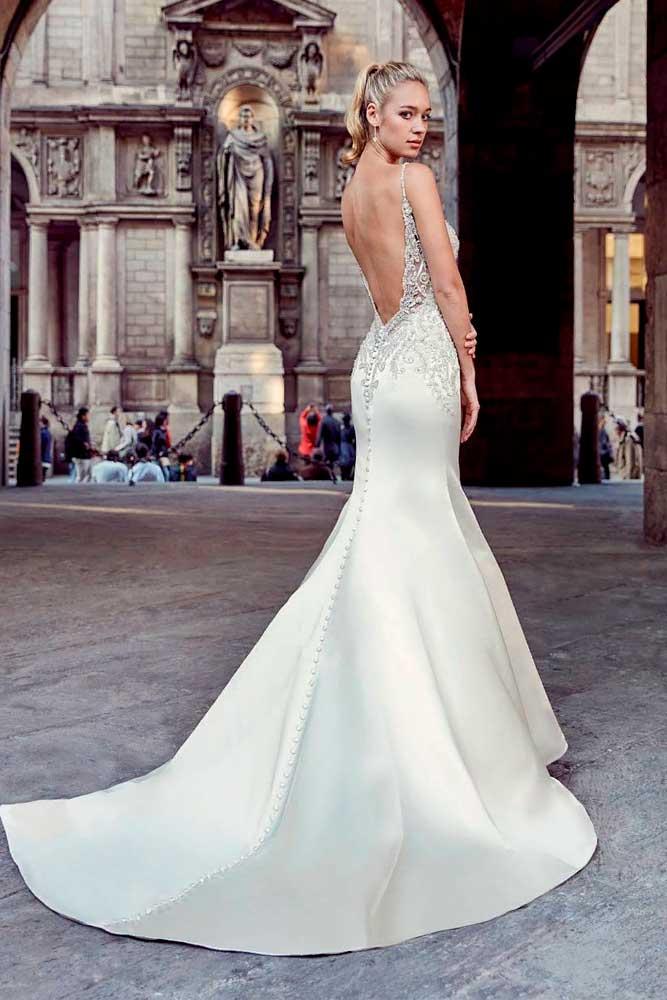 Sexy Mermaid Wedding Gown With Open Back #openbackdress #weddinggown