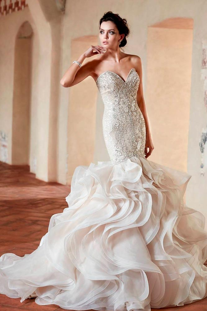 Layered Wedding Dress With Rhinestones #layeredweddingdress #longweddingdress