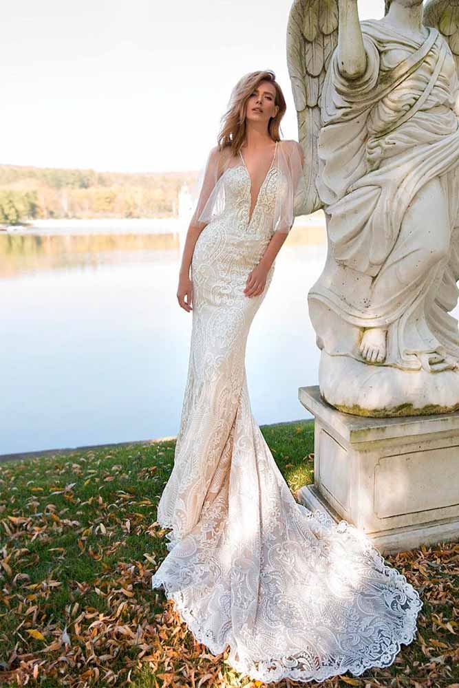 Sheer Sleeves Wedding Mermaid Dress #sheersleeves #weddingdress