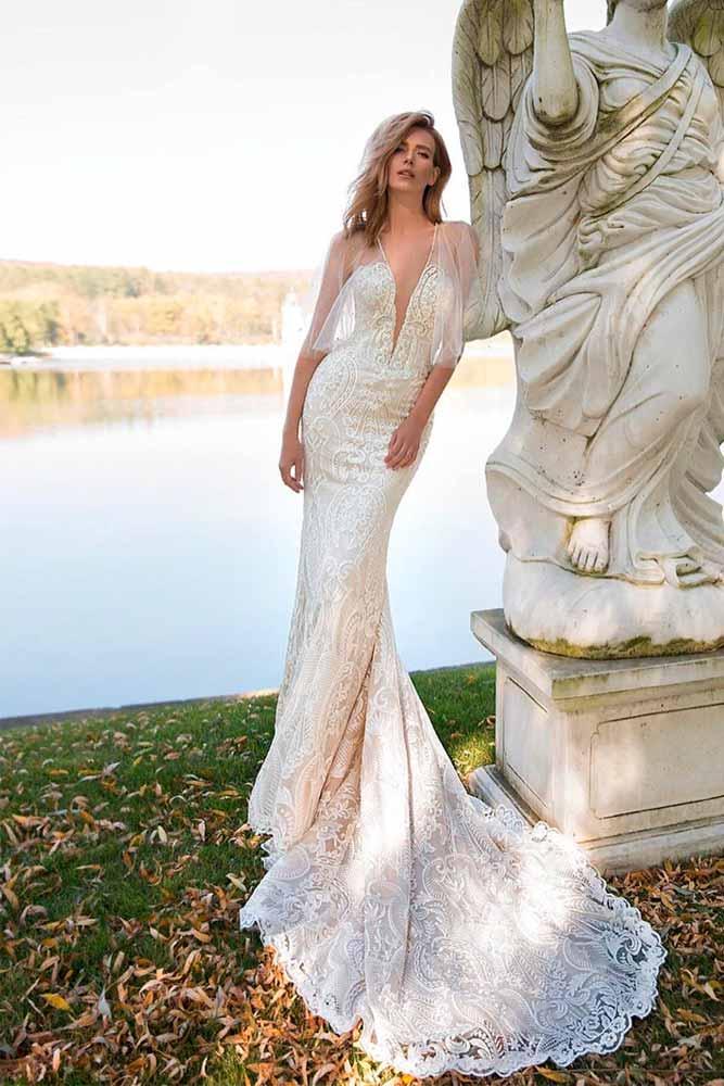 Sheer Sleeves Wedding Mermaid Dress #sheersleeves #weddingdress