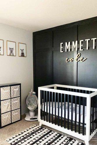 Modern Nursery For Boy In Black And White Colors #boynursery #blackwhite