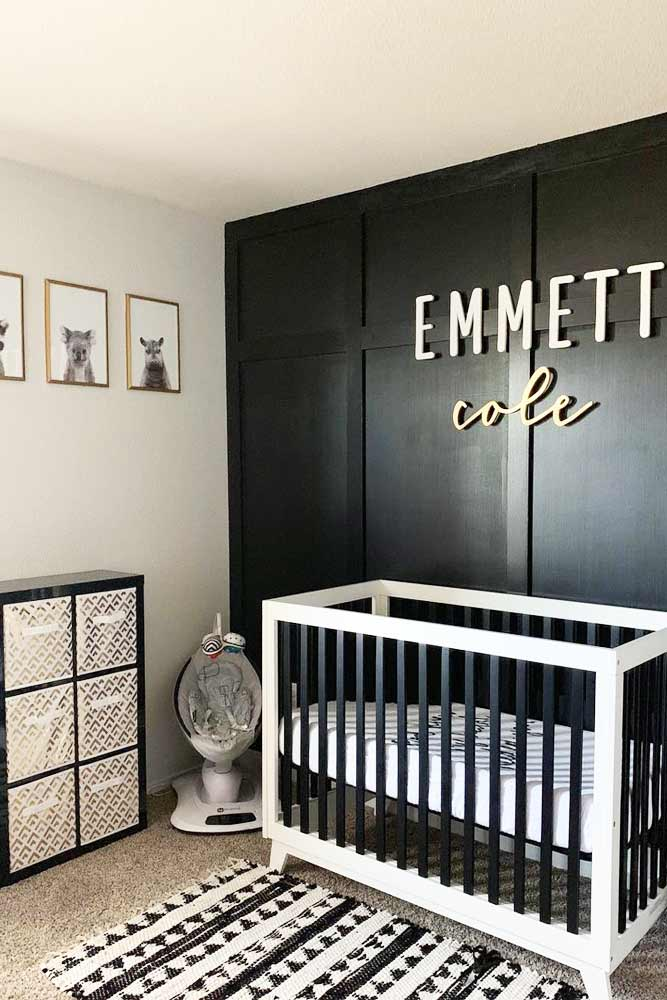 Modern Nursery For Boy In Black And White Colors #boynursery #blackwhite
