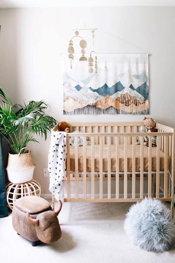 Neutral Nursery Idea In Boho Style #walldecor