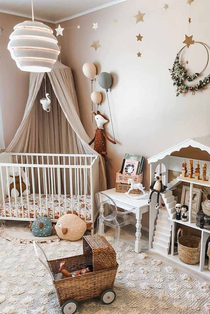 Nursery Idea In Neutral Color With Canopy Accent #walldecor #stars