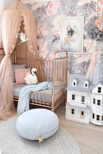 Modern Nursery Idea With Canopy And String Lights Accent #stringlights #canopy