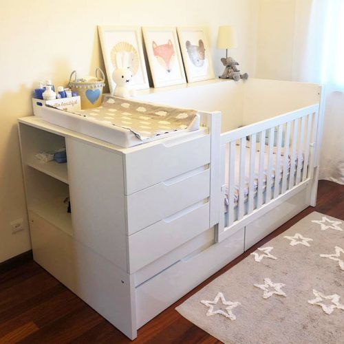 Crib Design With Baby Changing Table And Drawers #smallnursery #nurseryorganization
