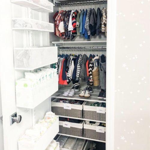Closed Nursery Organizer System #spaceorganizer #baskets