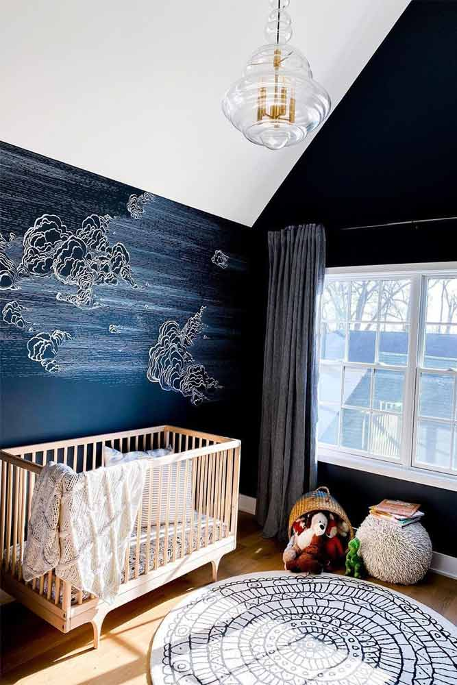 Nursery Design With Deep Blue Wall #woodencrib #deepbluewall