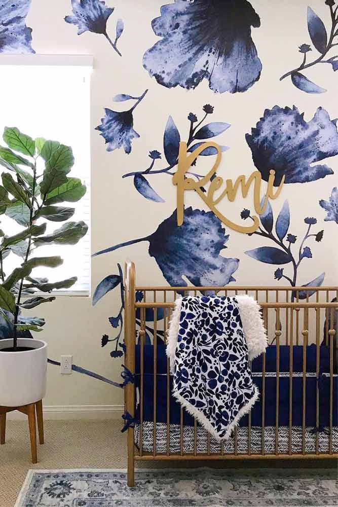 French Style Accent For Girl's Nursery #floralwall