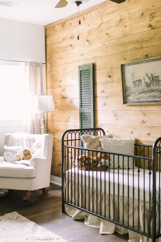 Rustic Nursery With Metallic Crib For A Boy #rusticnursery