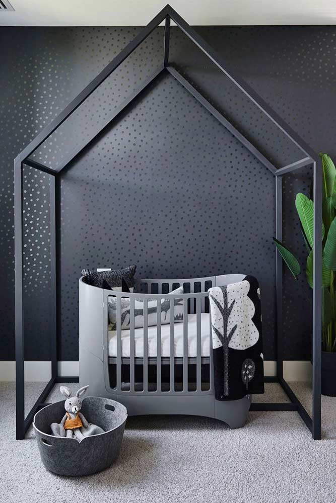 Dark Color For Boys Nursery Decor #graycrib #metallicframe