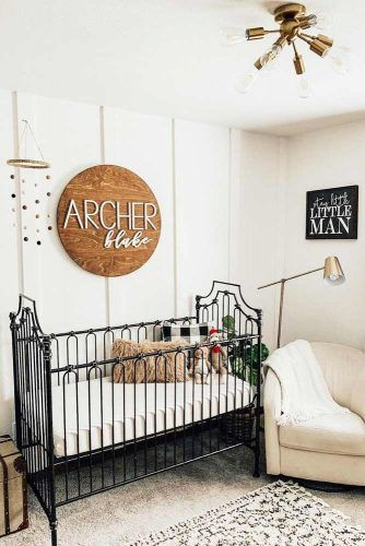 Neutral Colors With Black Crib Nursery Design For Boy #blackcrib #woodsign