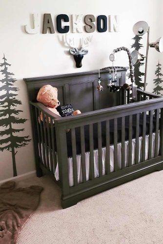 Nursery Idea With Painted Wall For Boy #boynursery #blackcrib