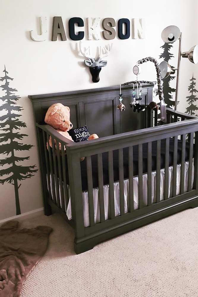 Nursery Idea With Painted Wall For Boy #boynursery #blackcrib
