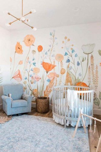 Neutral Nursery Idea With Floral Wall Decor #paintedwall #bohonursery