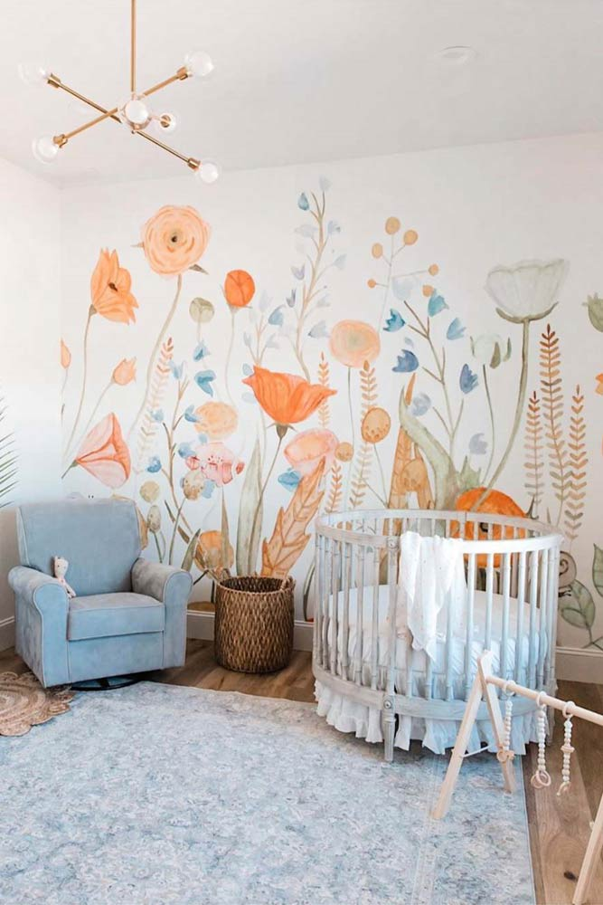 Neutral Nursery Idea With Floral Wall Decor #paintedwall #bohonursery