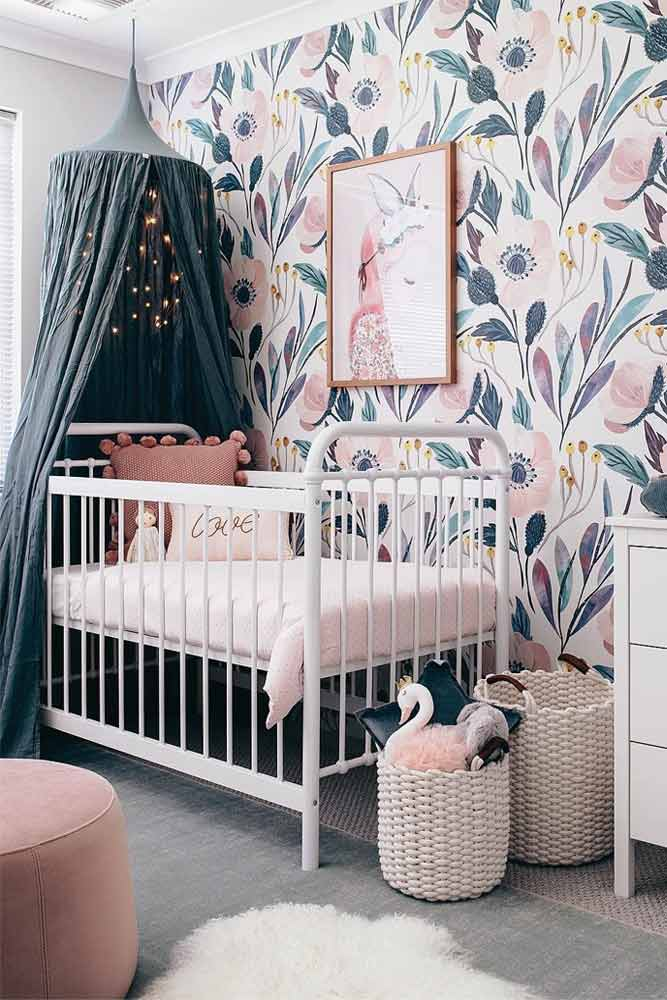 Nursery Design With Painted Walls For Girls #canopy #floralwalls