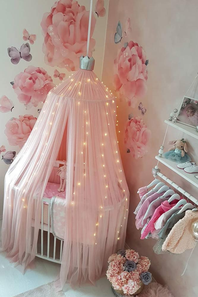 Nursery Idea With Painted Wall For Girls #floralwall