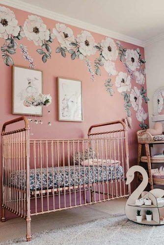 Nursery Idea For Girl With Pink Painted Wall #paintedwall #girlnursery