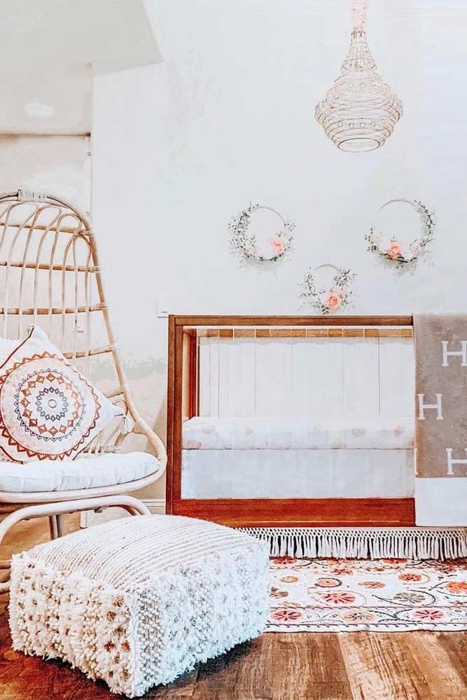 Boho Nursery Design For Girls With Wicker Chair #wickerchair
