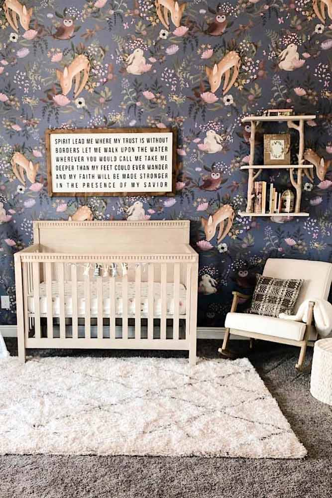 Nursery Idea With Cute Animals Wallpaper #rusticdecor #crib