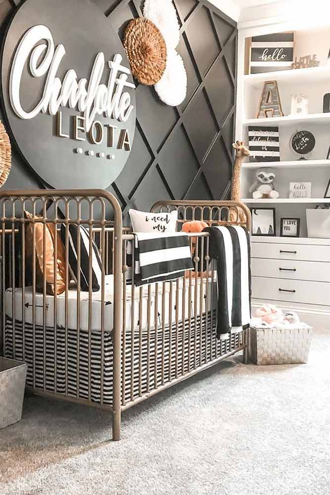 Nursery For Girls In Black - White Colors #blackandwhite
