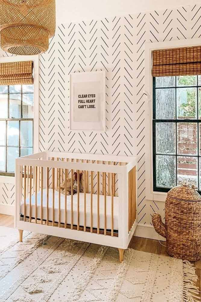 Neutral Nursery With Wicker Accents #wickerfurniture #walldecor
