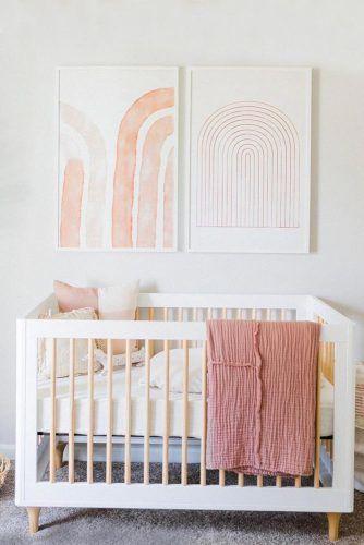 Neutral Nursery With Simple Wall Decor #walldecor #woodencrib