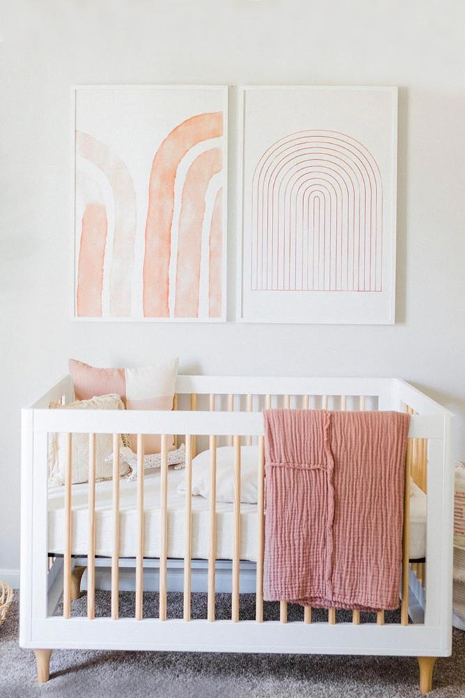 Neutral Nursery With Simple Wall Decor #walldecor #woodencrib