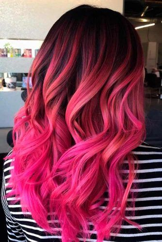Pink Ombre On Dark Base #colorfulhair #ombrehair #wavyhairstyles