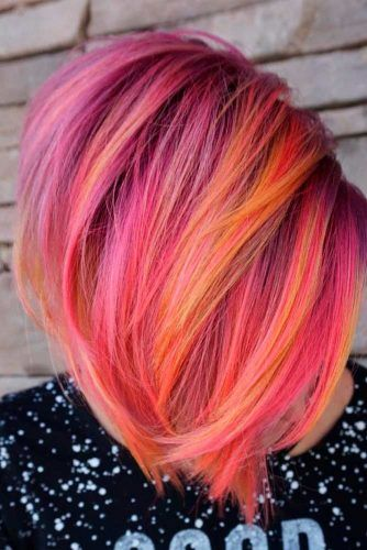 Bold Color Mix #colorfulhair #shorthairstyles