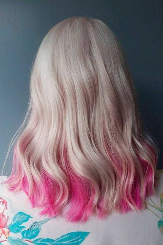 Blonde With Pink Ends #blondehair #ombrehair