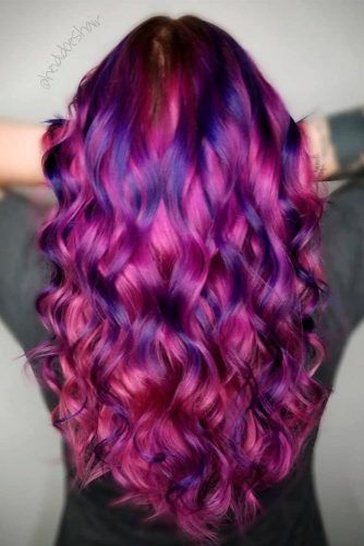 Pink And Purple Hair #colorfulhair #curlyhairstyles