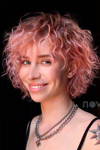 Flamingo Pink Pastel Shade #curlyhair #shorthairstyles