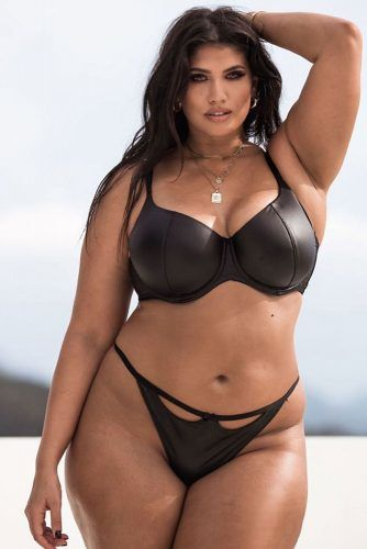 Black Leather Plus Size Lingerie Set #leatherlingerie