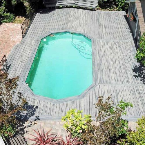 Wooden Pool Deck Design Around Vinyl Liner Pool #abovagroundpool