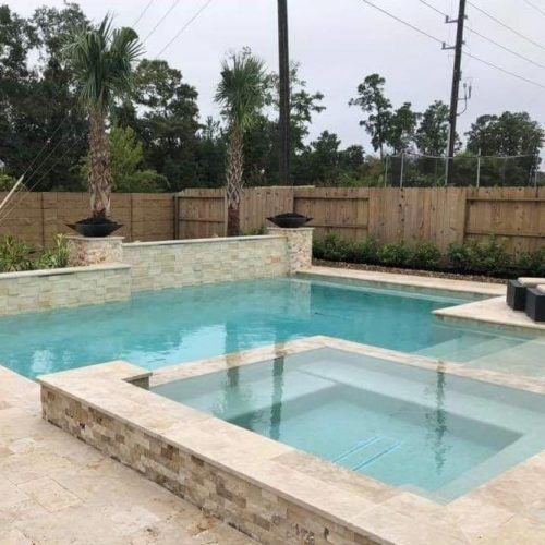 French Pattern Ivory Travertine Pavers For Your Pool Deck #frenchpatternpavers