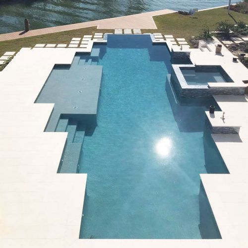 Pool Deck With Concrete Blocks Construction #concreteblocks