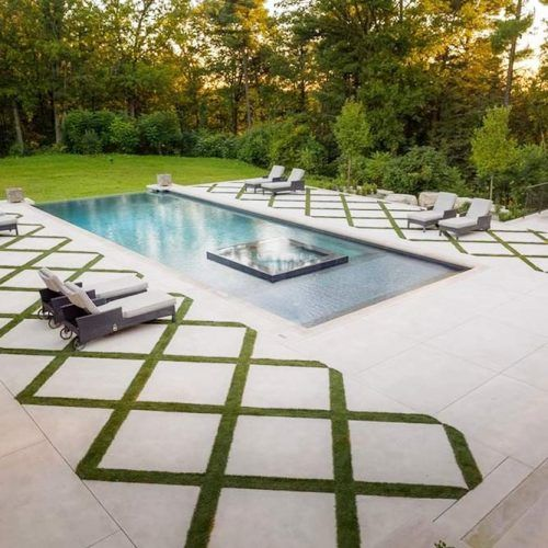 Concrete Pool Deck With Grass Accent #concretedeck