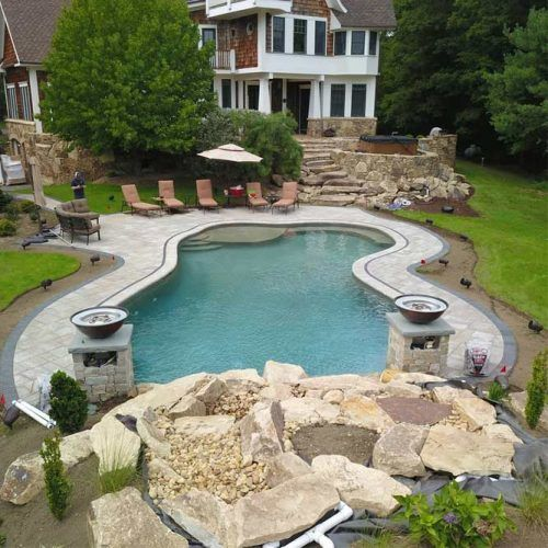 Natural Mountain Lake Style Custom Pool Project #naturalstone