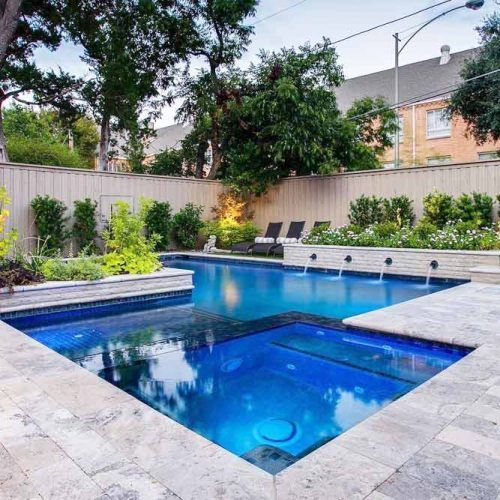 Modern Pool With Stone Deck #concretedeck #moderndeck
