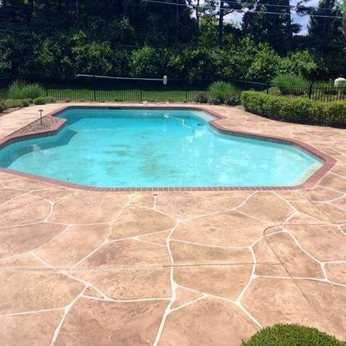 Pool Deck Design With Stamped Concrete #stampedconcrete
