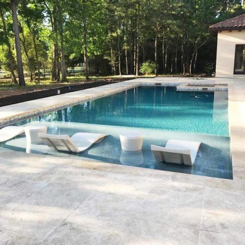 Tuscany Travertine Pavers On A Deck Around A Pool #backyardpooldeck
