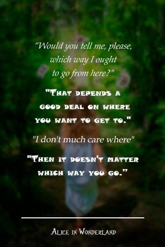 Would you tell me, please, which way I ought to go from here? #lewiscarroll #quotes