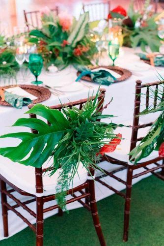 Tropic Decor For Chairs #wedding #weddingflowers