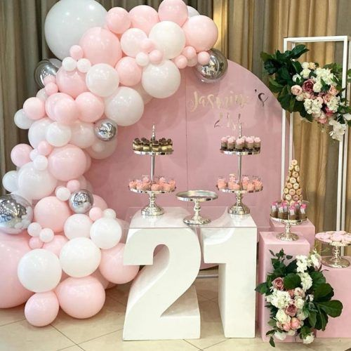Party Theme In Pink Color With Flowers #21thbirthdayparty